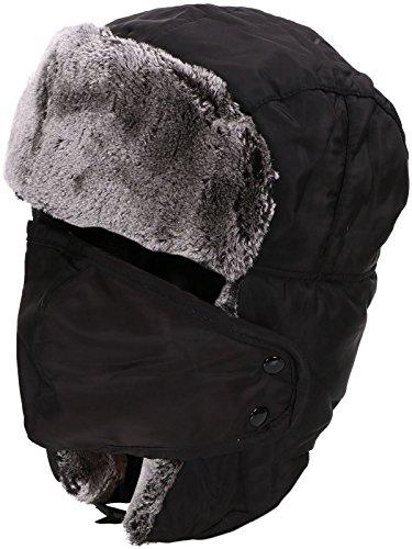 Fashion Winter Men Women Warm Trapper Aviator Trooper Earflap Russian Ski Hat Weatherproof (Black)