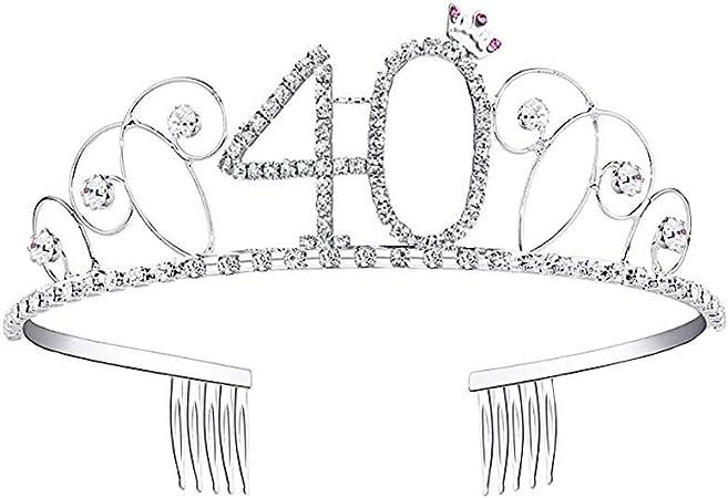 332PageAnn Diademe Mariage Couronne danniversaire 18-90 Ans Strass Accessoires De Cheveux Mari/ée Banquet Bandeau Anniversaire Diad/ème Cristal Strass Couronne danniversaire