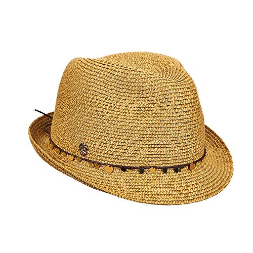 Tommy Bahama Women's Sequins Paper Braid Fedora Hat, Toast, OS (Hat Fedora Summer Braid)