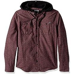 Zoo York Men's Long Sleeve Hooded Woven Shirt, Range Dahlia, Small