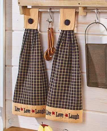 Sets of 2 Hanging Kitchen Towels Live Laugh Love by Hi-Tech