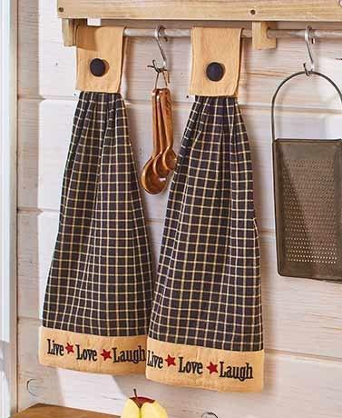 (Sets of 2 Hanging Kitchen Towels Live Laugh)