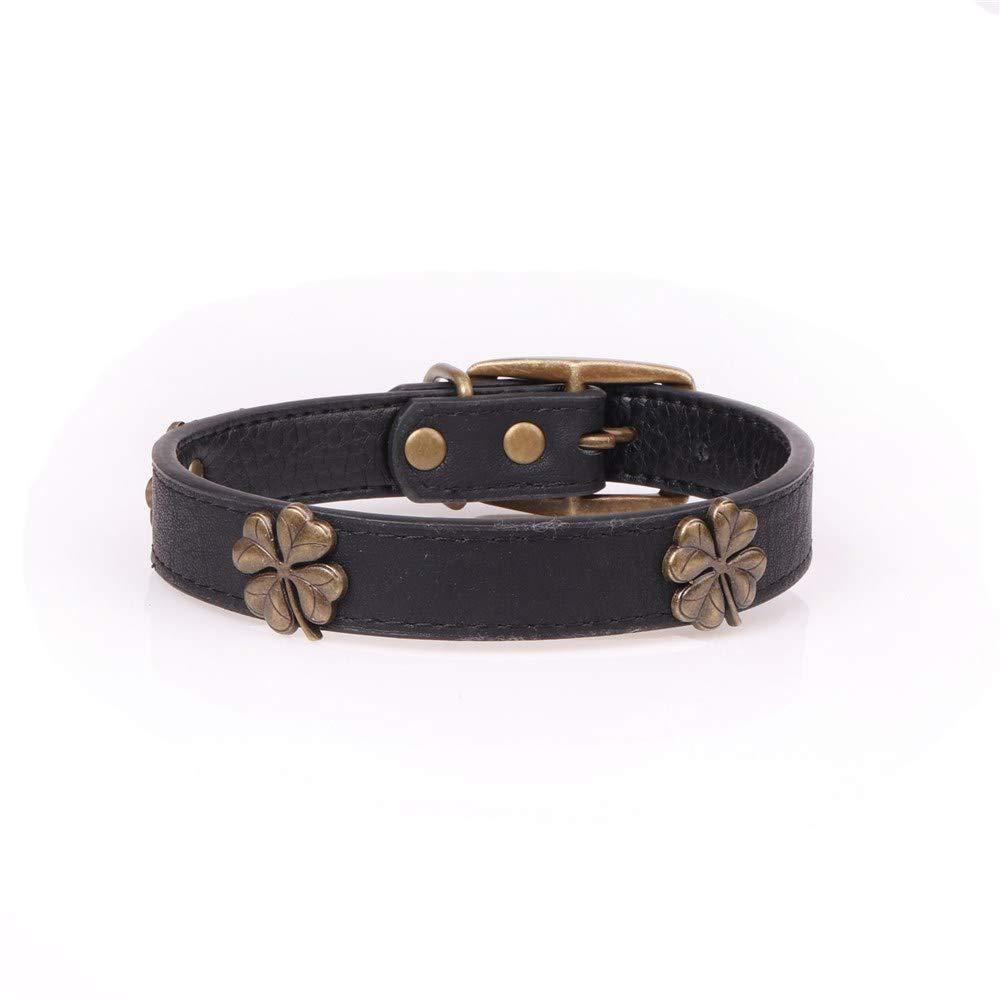 Black 2.0×29-36CM Lindou Pet collar Pet collar four-leaf clov decorative pu leath dog collar,red,2.0×29-36CM (color   Black 2.0×29-36CM)