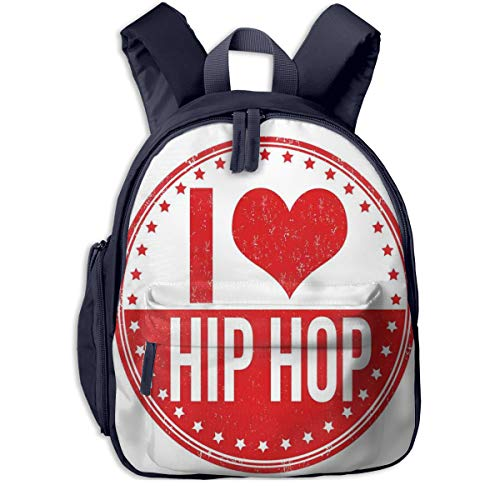 Kids School Backpack for Boys and Girls,I Love Hip Hop Phrase On A Circular Grungy Background With Star Shapes,Kindergarten Preschool Bag,navy