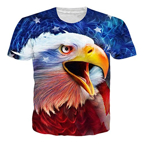 Flag Eagle Rock - Goodstoworld American Flag Eagle Print Shirt Men Women Summer Gothic Casual Short Sleeve Tshirt Tee Tops Clothes Small