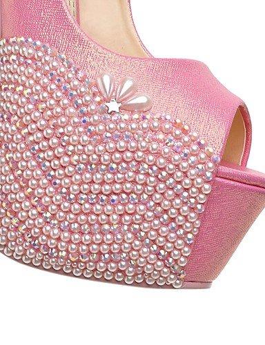 plataforma de toe las talón de over pink peep mujeres de over 5in los amp; golden sintético de amp; boda sandalias la 5in de GGX tacón zapatos cuero de la aguja qPEzx6xU