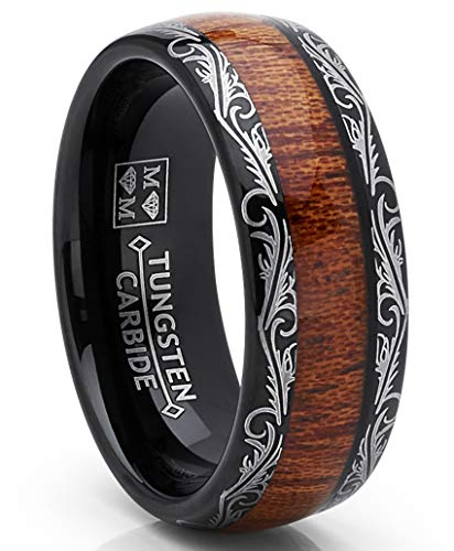 Metal Masters Co. Men's Black Tungsten Carbide Wedding Band Koa Wood Inlay Floral Design Engagement Ring ()