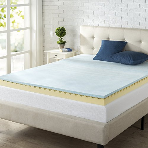 Zinus 4 Inch Swirl Gel Memory Foam Air Flow Topper, Queen