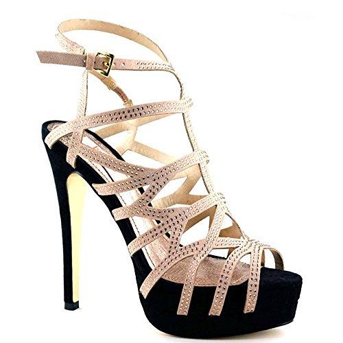 Luichiny Women's Fare Lee, Heeled Platform Sandal (9, Nude/Black) -