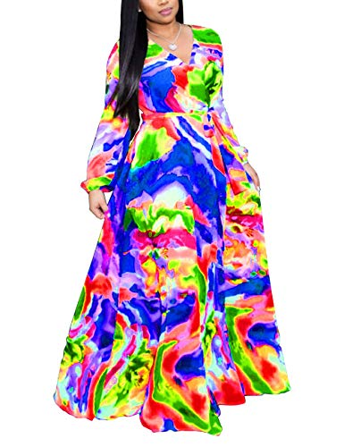 Akmipoem Womens Floral Print Wrap V Neck Long Sleeve Tie Waist Maxi Dress