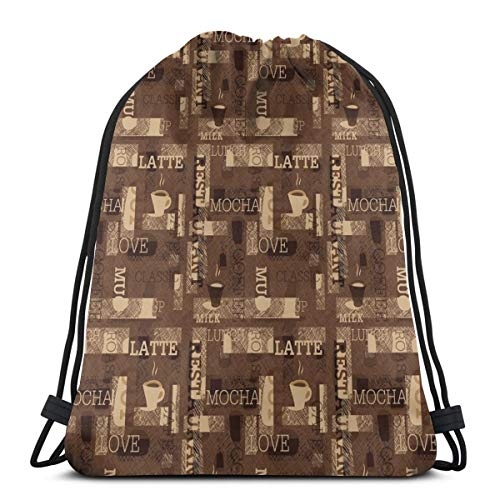 Unisex Drawstring Bag Gym Bags Storage Backpack,Cafeteria Pattern With Hot Mocha Latte Milk Love Typography On Scribble Backdrop ()
