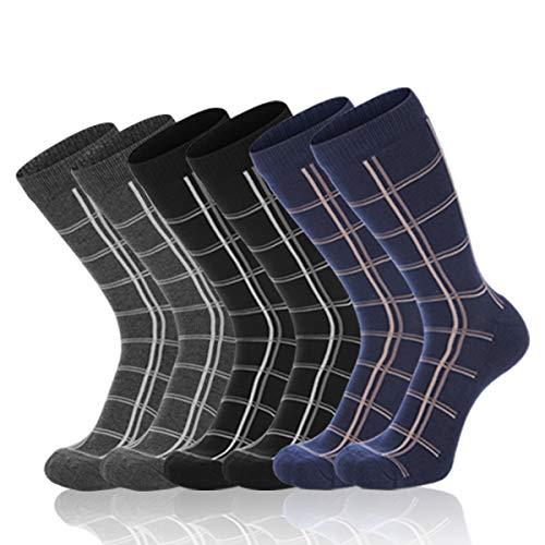 LITERRA Men's Classics Argyle Dress Socks Cushion Crew Sock(3 Pack) (Mens Thermal Dress Socks)