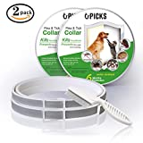 "Flea and Tick Collar & Flea Comb for Dogs Cats 2 packs - 12 Months Flea and Tick Control Protection - Adjustable Size for Small Large Dogs - Waterproof - 25"" Inches Long - Stops Pest Bites - Itching"