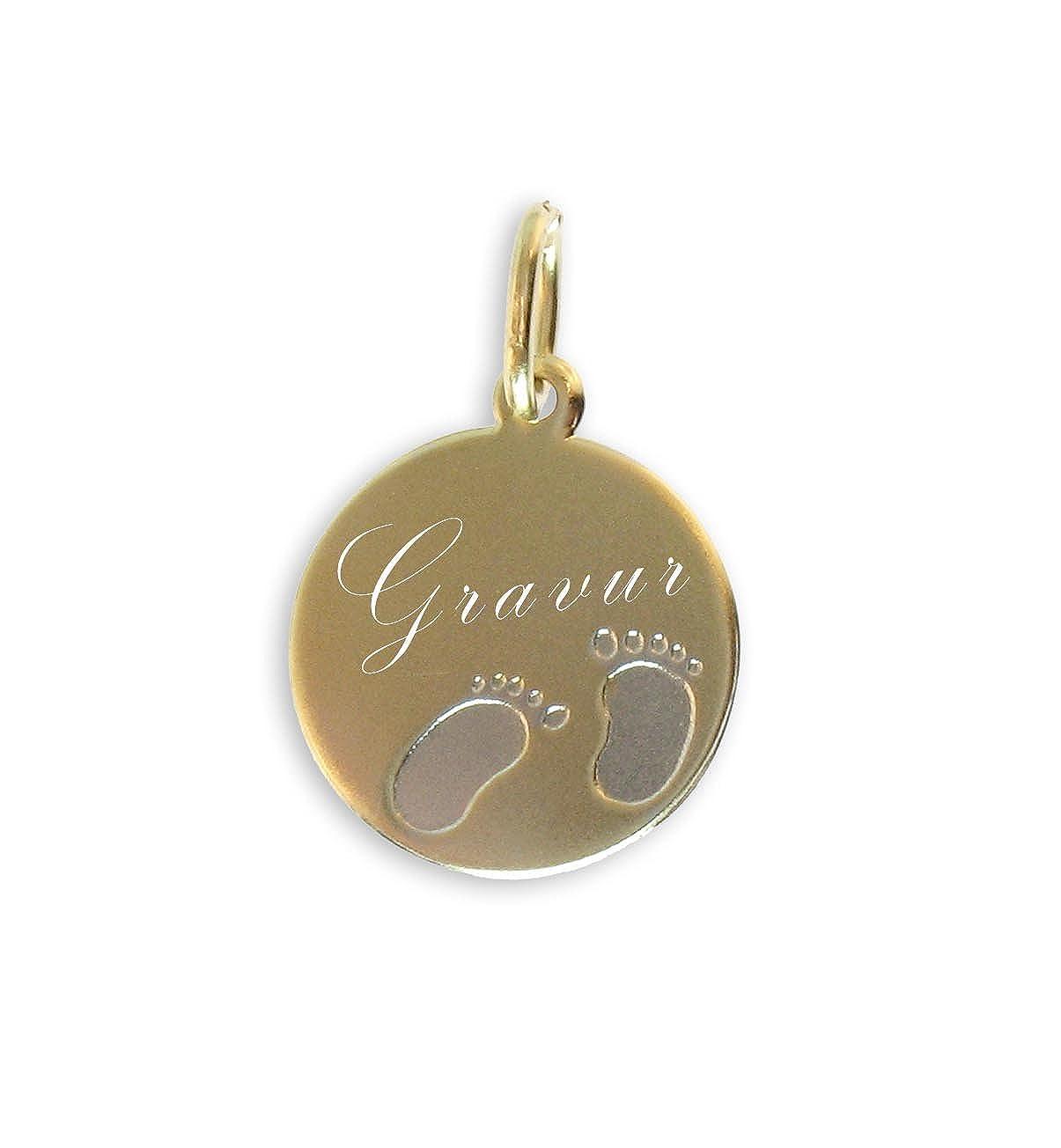 Taufanhänger Babyfüsse echt 14 Karat Gold 585 (Art 201015/022) GRATIS-SOFORT-GRAVUR Viennagold 201022