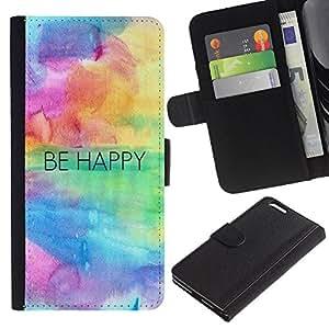LASTONE PHONE CASE / Lujo Billetera de Cuero Caso del tirón Titular de la tarjeta Flip Carcasa Funda para Apple Iphone 6 PLUS 5.5 / Happy Quote Motivation