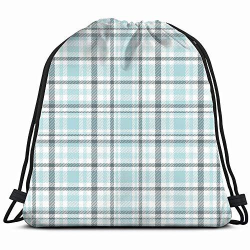 Tartan Plaid Light Blue Drawstring Backpack Gym Dance Bags For Girls Kids Bag Shoulder Travel Bags Birthday Gift For Daughter Children Women