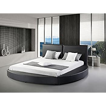 Greatime B1159 Modern Round Bed, Queen, Black (Black)