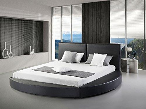 GREATIME B1159 Modern Round Bed, Queen, Black (Black) ()