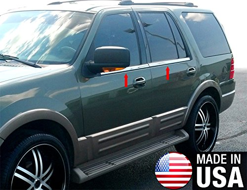 Made in USA! Works with 2003-2015 Ford Expedition W/O Keypad 4PC Stainless Steel Chrome Window Sill Overlay