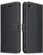 ELESNOW fodral kompatibelt med iPhone SE 2020/iPhone 7/iPhone 8, högkvalitativt vikbart fodral i läder, telefonskal för Apple iPhone 7/iPhone 8/iPhone SE 2020 (svart)