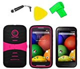 Heavy Duty Hybrid Phone Cover Case Cell Phone Accessory + Extreme Band + Stylus Pen + LCD Screen Protector + Yellow Pry Tool For Straight Talk Tracfone NET10 Motorola Moto E XT830C (S-Hybrid Black Pink)