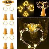 Kanzd 6pcs Solar Powered10 LED Night Fairy Waterproof Warm White Wine Bottle Lights (Yellow)