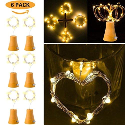Kanzd 6pcs Solar Powered10 LED Night Fairy Waterproof Warm White Wine Bottle Lights (Yellow) by Kanzd