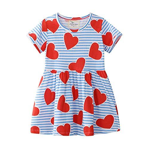 (Little Girl Trends Spring Summer Short Sleeve Casual Love Heart Print Tunic Dress)
