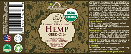 US Organic Hemp Seed Oil, USDA Certified Organic,100% Pure & Natural, Cold Pressed Virgin, Unrefined, Amber Glass Bottle with Glass Eye Dropper for Easy Application (2 oz (56 ml))