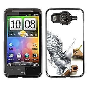 TECHCASE**Cubierta de la caja de protección la piel dura para el ** HTC G10 ** Eagle Art Drawing Pencil 3D Big Bird Fly
