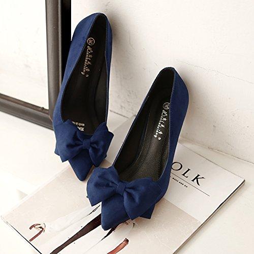 con versatile del filtro 40 centimetri con cingolo fine Bow con royal i scarpe 5 bassa Tie a di donna e raso scarpe pattini Il blue tacco 5cm alto OR8wOqd