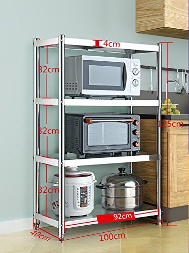 4 Tiers Metal Microwave Oven Stand Baker Rack Stainless Steel Storage Shelf With Table For Kitchen Appliances (Size : Length 92CM)