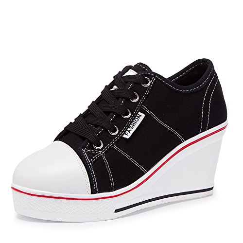 nice Women's Girl's Lace-up Wedge Heel Canvas Walking Sneakers Platform Pumps Shoes free shipping