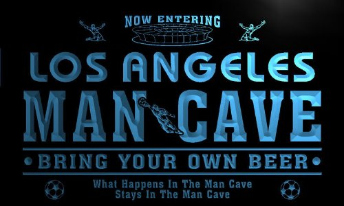 Los Angeles State Football - qd2052-b Los Angeles State Cities Man Cave Soccer Football Bar Neon Beer Light Sign
