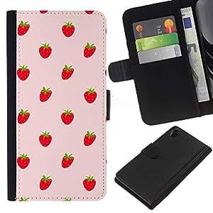 KingStore / Leather Etui en cuir / Sony Xperia Z2 D6502 / Fresas Bayas rojas Wallpaper Fresh Food