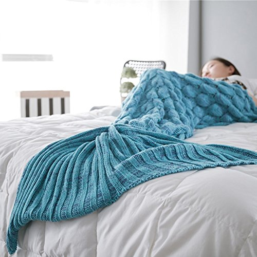 Handmade Scales Fringed Mermaid Blankets for Adults Kids in Living Room and Sofa (Light blue)