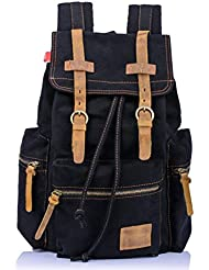Bronze Times(TM) Large Capacity Canvas Leather Backpack Rucksack Schoolbag