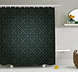 dark grey curtains amazon Ambesonne Dark Grey Shower Curtain, Medieval Folkloric Ornament Celtic Pattern Vintage Style Abstract Floral Circles, Fabric Bathroom Decor Set with Hooks, 84 Inches Extra Long, Black Grey