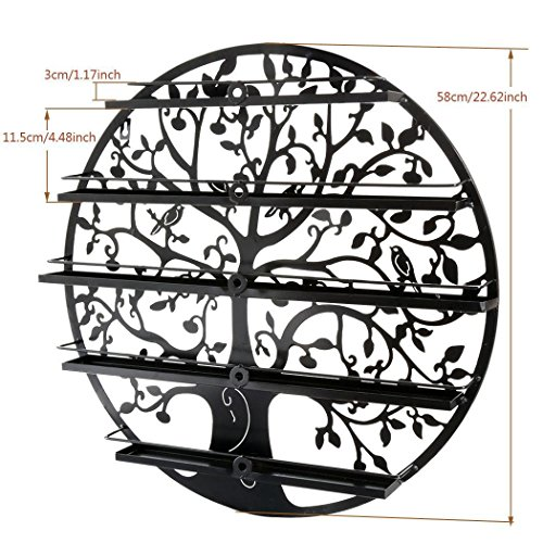 Lantusi Wall Mounted 5 Tier Nail Polish Rack Holder, Tree Silhouette Black Round Metal Nail Polish Storage Organizer Display, Great for Home, Business, Salon, Spa, and More (US STOCK) (Tree) by Lantusi (Image #3)