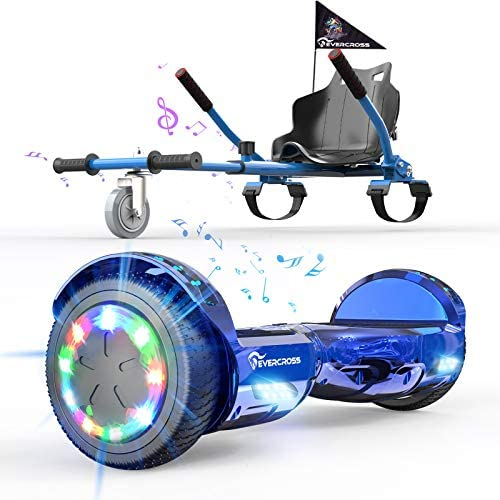 """EverCross Hoverboard, Hoverboard for Adults, Hoverboard with Seat Attachment, 6.5"""" Hover Board Self Balancing Scooter with Bluetooth Speaker & LED Lights, Suit for Adults and Kids"""