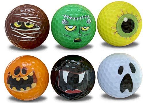 Halloween Golf Ball (Halloween Golf Balls - 6 Pack - Novelty Print Golf Balls 6 Assorted Frightening)