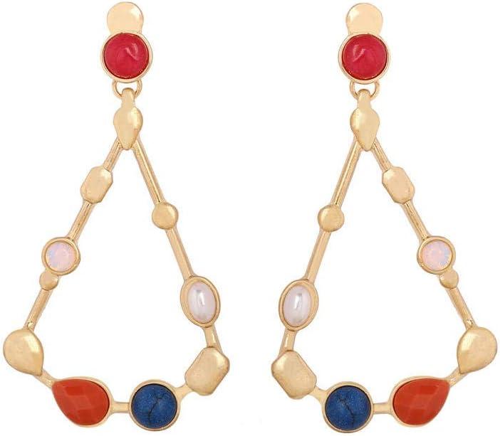 NECKLACEXSJ Pendientes Moda Exquisita Personalidad Pendientes geométricos de Piedras Preciosas de Metal Incrustaciones de joyería Modelos Femeninos