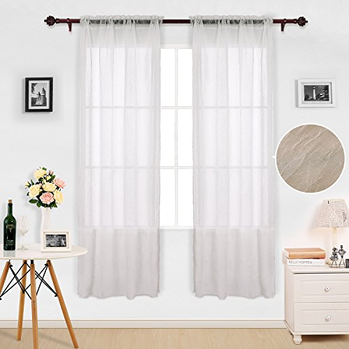 Deconovo White Faux Linen Sheer Curtains 63 Inch Length-Rod Pocket Indian Cotton Voile Drape Curtains for Living Room 42W x 63L Inch 2 Panels - Cotton Voile Curtains