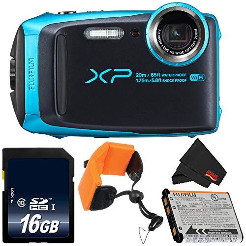 Fujifilm FinePix XP120 Underwater Digital Camera Bundle (Sky Blue) 600019758 + 16GB Memory Card + Floating Strap + More (Fujifilm 16gb Sdhc Class 10 Memory Card)