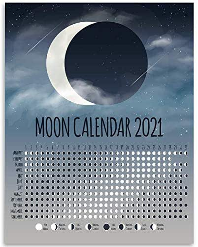 Amazon.com: 2021 Calendar - Phases of The Moon Chart ...
