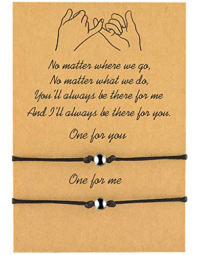 MANVEN Wishes Matching String Long-Distance BFF Bracelets for 2 Boyfriend and Girlfriend Women Best Friend
