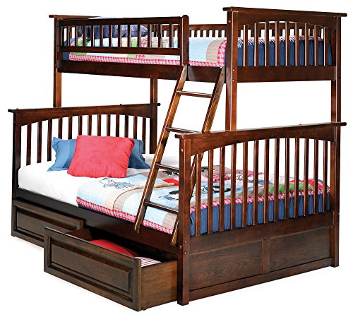 Columbia Bunk Bed with 2 Raised Panel Bed Drawers, Twin Over Full, Antique Walnut - Bunk Panel
