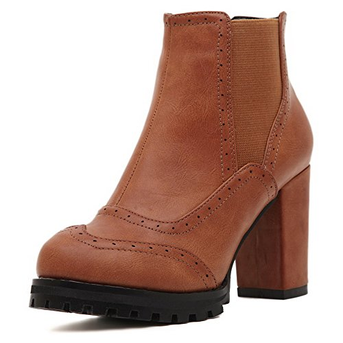 Boots Ankle Pull Women's Solid High Allhqfashion Heels PU Brown high on nzAwffxqU