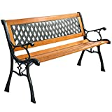 Giantex 49 1/2'' Patio Park Garden Bench Porch Path Chair Outdoor Deck Cast Iron Hardwood