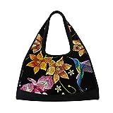 AHOMY Sports Gym Bag Flower Hummingbirds Embroidery Duffel Bag Travel Shoulder Bag